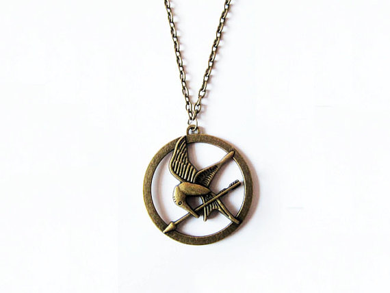 Necklace hunger games necklace antique brass mockingjay necklace hunger games necklace antique brass mockingjay katnisss arrow charm aloadofball Images
